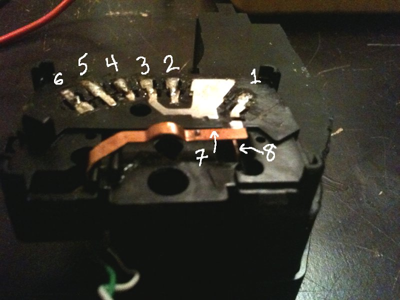 contacts inside switch housing