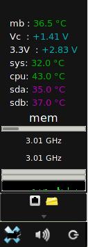panel screenshot showing sensors