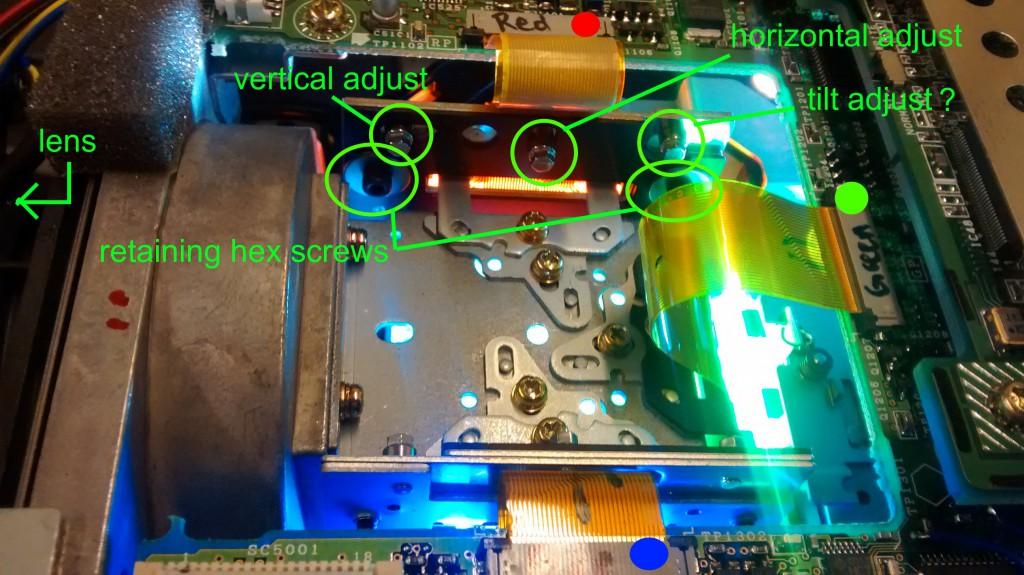 projector adjustment knobs locations